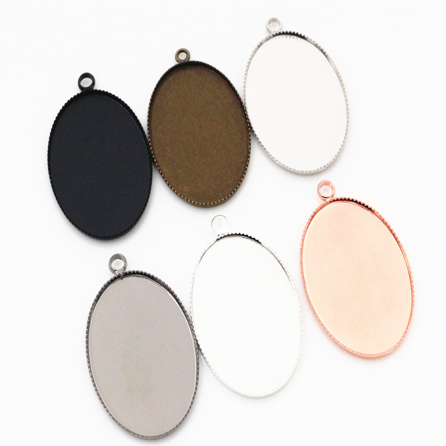 10pcs 18x25mm High Quality 6 Colors Plated Copper Oval Tooth Cabochon Base Cameo Settings Cabochon Cameo Base
