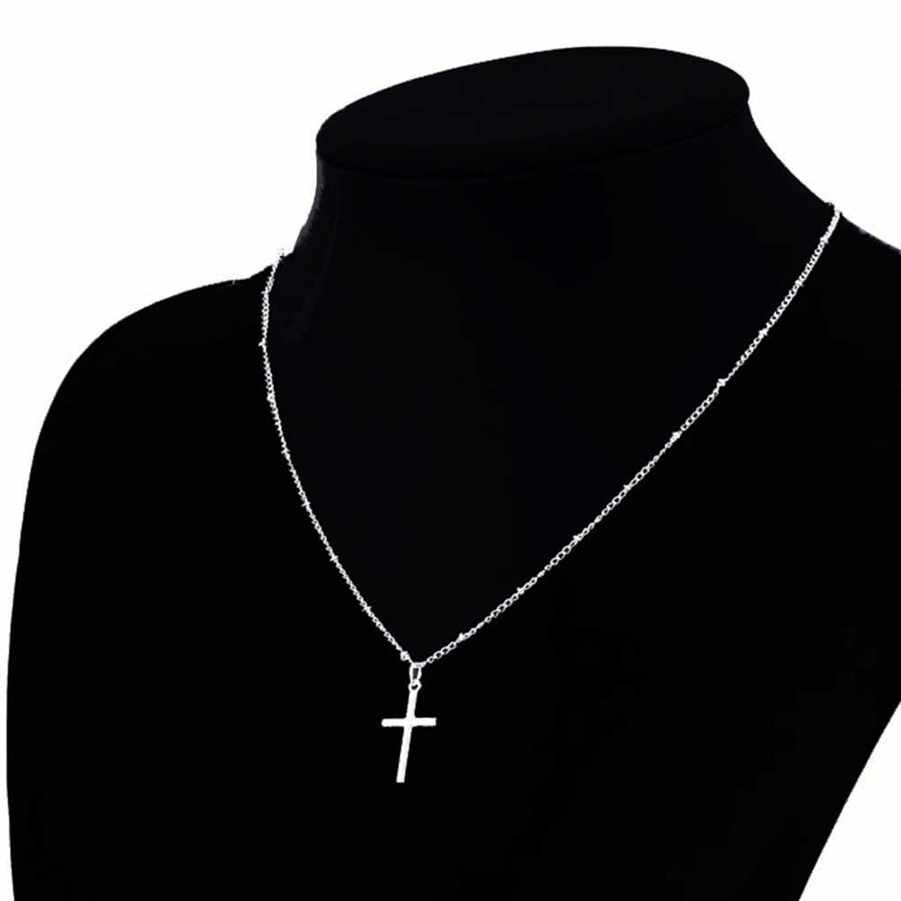 LISTE & LUKE 2019 letni złoty łańcuszek z krzyżykami naszyjnik mały złoty krzyż biżuteria religijna naszyjnik damski