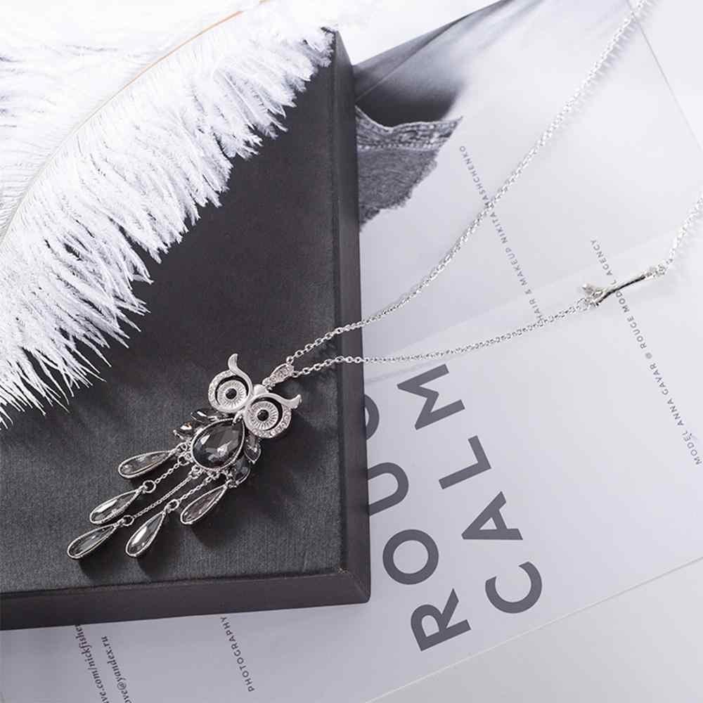 Опал сова модное длинное ожерелье свитер подвеска с цепочкой сплав длинное ожерелье с кристаллом