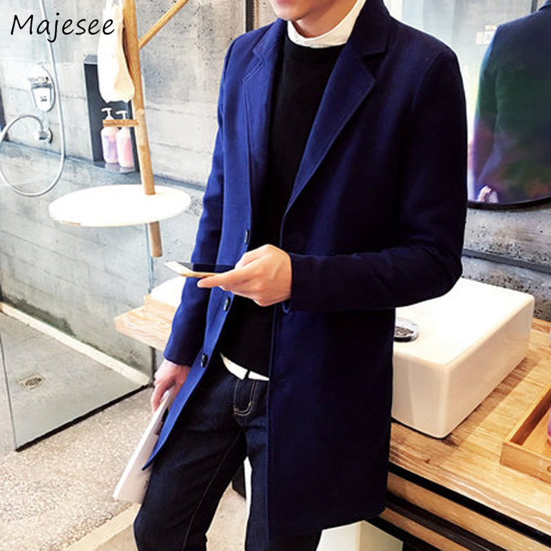 Men Coat Winter Clothes Solid Simple All Match Harajuku Overcoat Mens Coats Single Breasted Long Wool Turn-down Collar Chic Warm