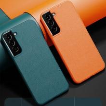 Funda protectora trasera para Samsung Galaxy S21, S20, S10, S9 Plus, S21 Ultra, de cuero de grano, mate, para Samsung S20 FE