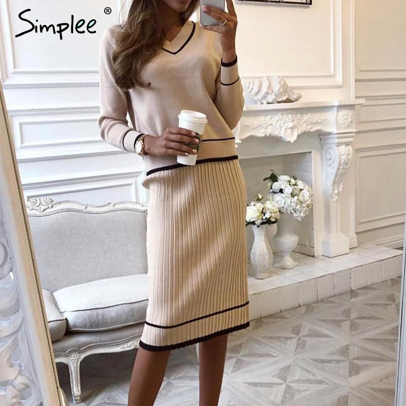 Simplee Elegant Two-piece Women Knitted Dress V Neck Pleated Female Autumn Sweater Dresses Loose Office Ladies Winter Vestidos