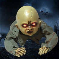 Halloween Party Creepy Ghost Baby Bald Head Ghost Voice Control Electric Horror Toy Crawling Props Spooky Bar Haunted Decoration