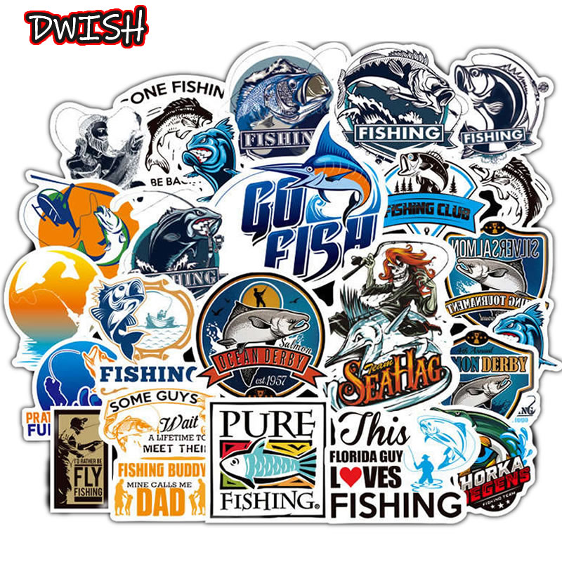 10/30/50pcs Funny Fisherman Go Fishing Waterproof Stickers Skateboard Guitar Suitcase Laptop Phone Motorcycle Graffiti Sticker