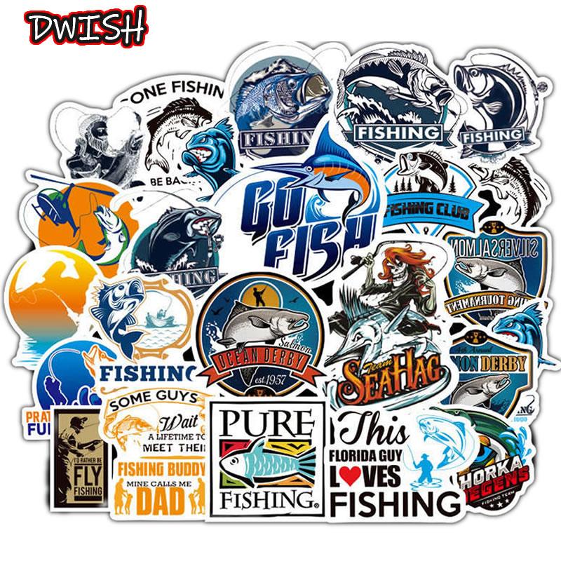 10/30/50pcs Funny Fisherman Go Fishing Waterproof Stickers Skateboard Guitar Suitcase Laptop Phone Motorcycle Graffiti Sticker