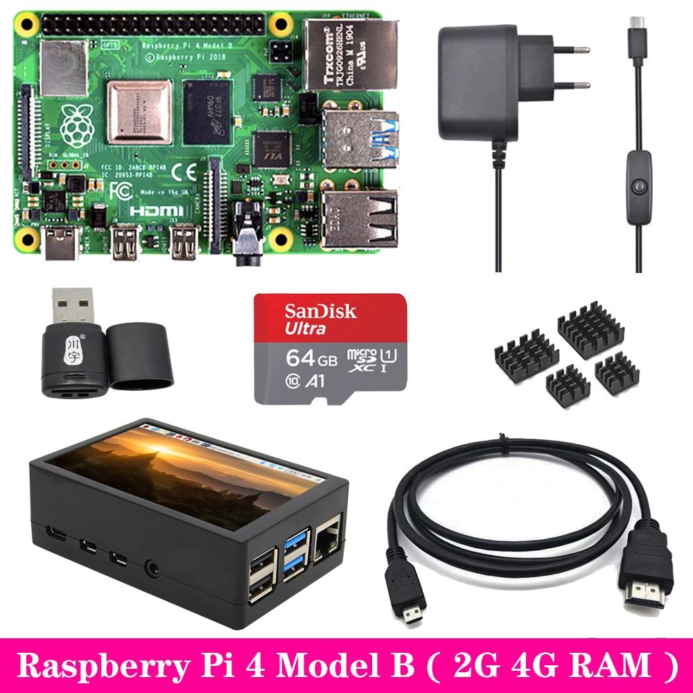 Original Raspberry Pi 4 Model B 2GB 4GB RAM with 3.5 inch TFT Touch Screen LCD Power Supply Heat Sink for Raspberry Pi 4B Pi4 B(China)