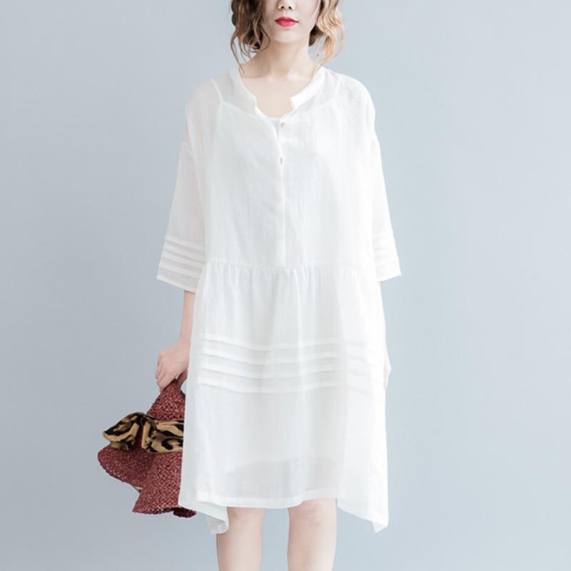 2020 Summer White Linen Dress Women V-neck See Through Dresses Plus Size Loose A-Line Lantern Sleeve Oversized Female vestidos