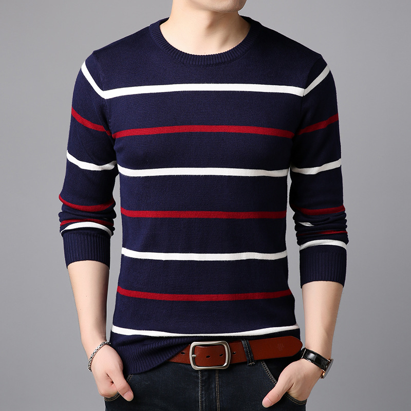 Pullover Men Brand Clothing Spring Autumn Winter Wool Slim Fit Sweater Men Casual Striped Pull Jumper Men BY43