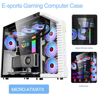 GAMEKM E-Sport Gaming Computer Fall Unterstützung MICRO-ATX/ATX Motherboard Mid-Turm Gehärtetem Glas Panel Desktop PC fall HDD/SSD