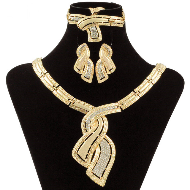 $ US $9.98 Fashion African Dubai Gold Jewelry Nigerian Crystal Necklace Hoop Earrings Women Italian Bridal Jewelry Sets Wedding Accessories
