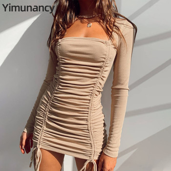 Yimunancy Long Sleeve Bodycon Dress Women Ruched Dress 2020 Autumn Ladies Khaki Square Collar Knitted Dress Robes 1