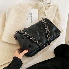 fashion designer bags luxury thick chains women shoulder bags black leather messenger bag female handbags large capacity totes