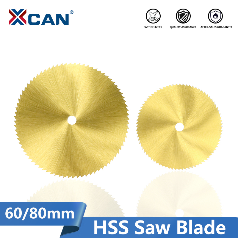 XCAN HSS M2 Saw Blade 60/80mm 72T Titanium Coated Mini Saw Cutter For Rotary Tools Wood Metal Cutting Disc Circular Saw Blade