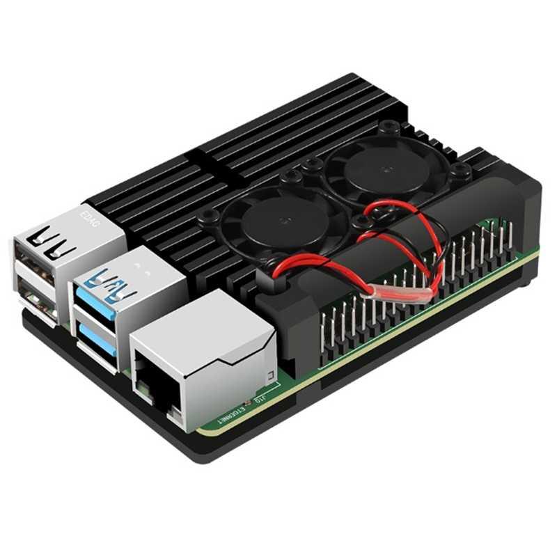 Für Raspberry Pi 4 Aluminium Fall mit Dual Lüfter Metall Shell Schwarz Gehäuse für Raspberry Pi 4 Modell B