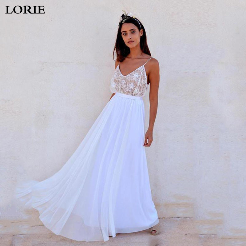 Lorie Beach Wedding Dress A Line Chiffon Lace Spaghetti Straps Bridal Dresses Boho V Neck Vestidos de novia