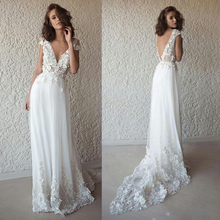 Boho-Robe Bridal-Dress Bohemian Mariage Lace Backless See-Through Beach New De V-Neck