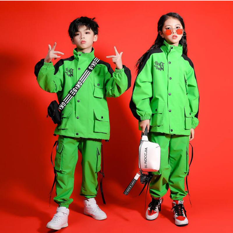Kid Green Hip Hop Clothing High Neck Jacket Top Coat Running Casual Cargo Pants For Girls Boys Jazz Dance Costume Street Clothes