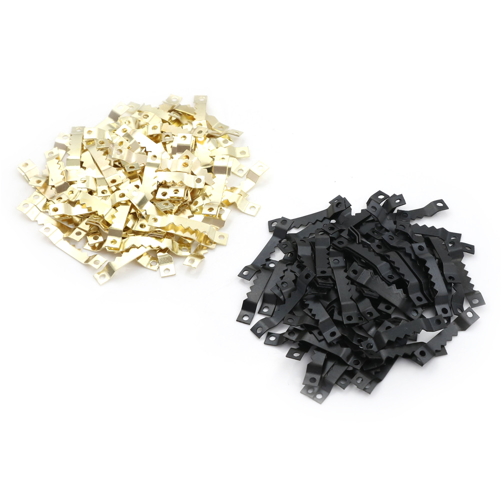 100pcs Black No Nail Picture Frame Hooks Saw Tooth Sawtooth Hangers
