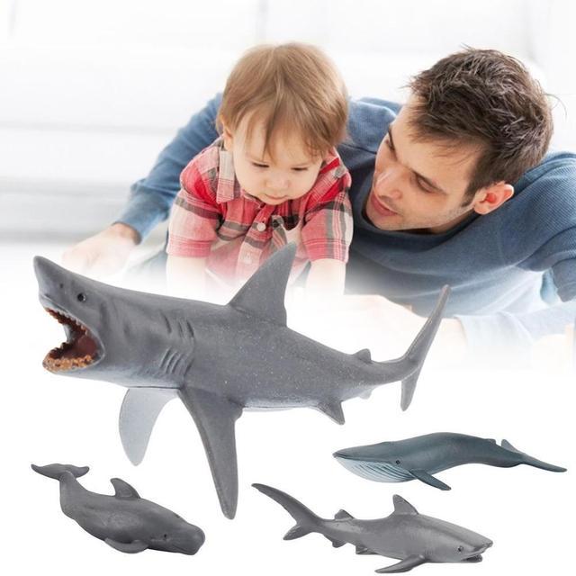 4 pièces mer vie sauvage mégalodon baleine requin modèle figurine PVC océan marin Animal Collection éducative jouet enfant cadeau