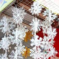 Decoración de árbol de Navidad, copos de nieve artificiales de plástico blanco, 6-11cm, nuevo para el hogar, fiesta, 30 Uds.