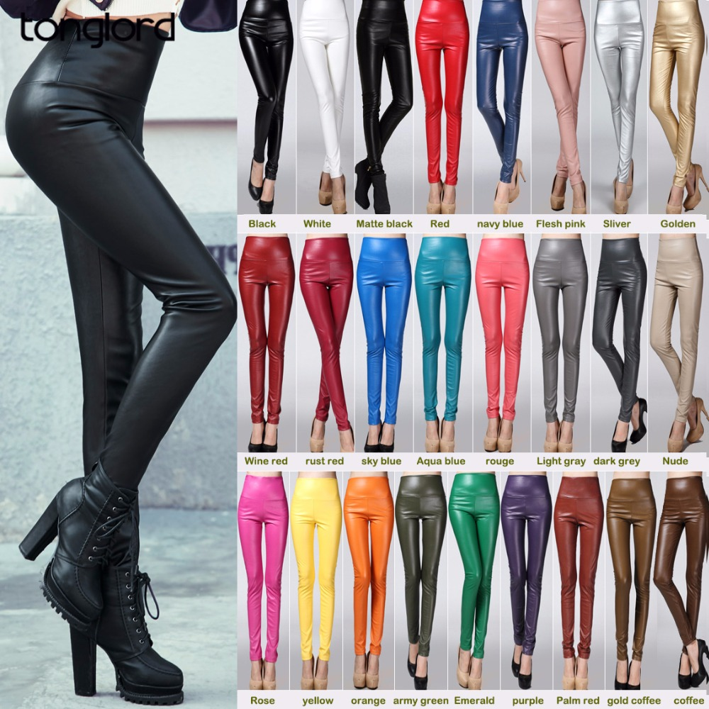 2018 New Women's Pu Leather Pants Autumn Winter High Waist Solid Pencil Pants Office Lady Elastic Skinny Long Trousers 25 Colors