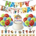 1 комплект Cocomelon вечерние поставки Cocomelon наклейки в виде торта фигурки жениха и невесты; Баннер на день рождения для Baby Shower или для вечеринки ...