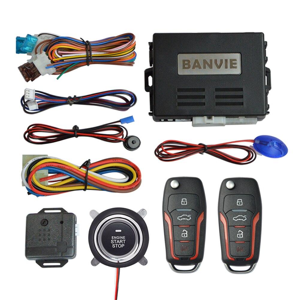 BANVIE Автомобильная сигнализация с дистанционным запуском двигателя и кнопкой запуска и остановки без ключа