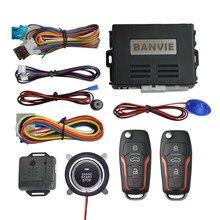 Banvie sistema de alarme do carro com partida do motor remoto e push start stop botão keyless entrada