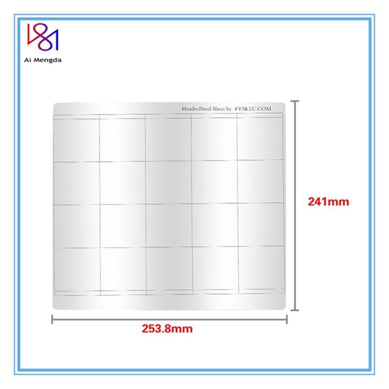 1pc Prusa I3 Mk3 Mk52 Spring Steel Sheet HeatBed Platform 3D Printer Printing Buildplate 253.8*241mm For Reprap 3D Printer Parts