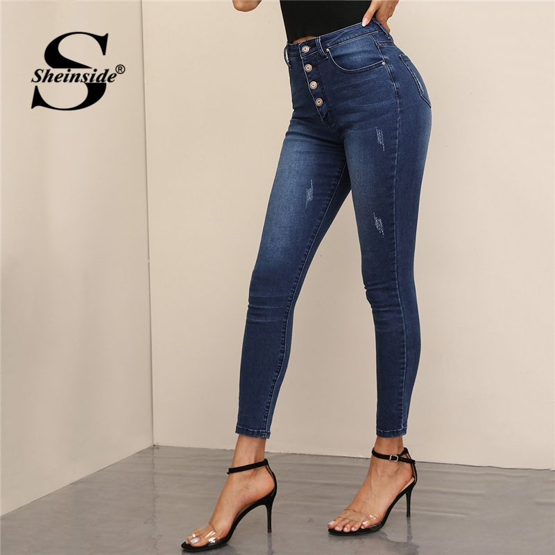 Sheinside Navy Casual Button Up Detail High Waist Jeans Women 2019 Autumn Stretchy Crop Trousers Ladies Skinny Pants
