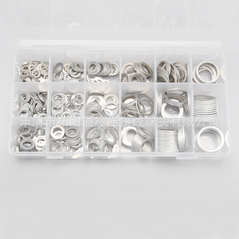 Cross Border Electricity Supplier 450PCS Boxed Aluminum Gasket Sealing Washer Corrosion-Resistant Aluminium High-temperature Res