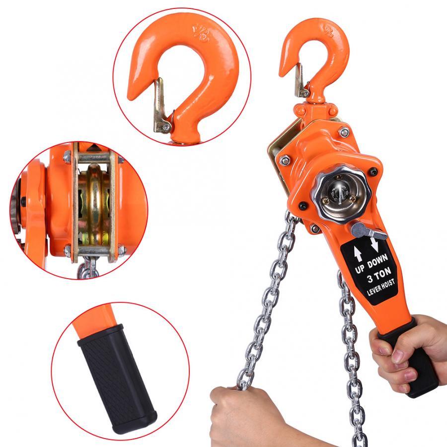 Metal Chain Orange Color 3t/3000kg Chain Block Hoist Ratchet Hoist Ratchet Lever Pulley Lifting 3meters Lifting Tools
