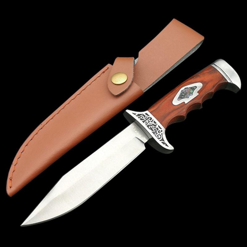 1084.85руб. 40% СКИДКА|Mengoing 7Cr13Mov Стальной Охотничий нож с фиксированным лезвием, стальные ручные ограждения, ножи с деревянной ручкой, кожа/нейлоновая оболочка|Ножи| |  - AliExpress