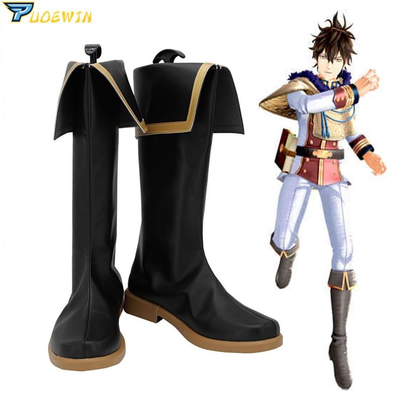 Black Clover Quartet Knights Yuno Cosplay Shoes Black Shoes Custom Made