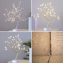 цены 108 LED USB Night Light Copper Wire Fire Tree Light Christmas Party Wedding Home Bar Decoration Tree Night Lamp Switch Control
