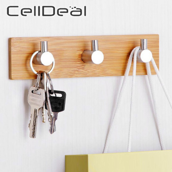 1Pcs Self Adhesive Wood Bamboo Stainless Steel Hook Wall Bag Headphone Key Hanger Towel Rustproof Shelf  Clothes Storage