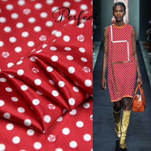 Vermelhas da Matéria Têxtil do Cetim de Seda do Estiramento da Tela das Bolinhas de 100cm Crianças de 100cm * 105cm