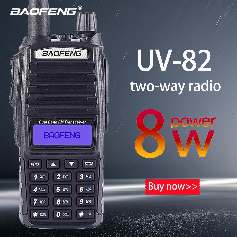 """מכונות כביסה ומייבשים Baofeng Ture 8W UV-82 פלוס 10 ק""""מ ארוך טווח עוצמה מכשיר הקשר Portable CB VHF / UHF שני הדרך רדיו אמאדור 8 וואט מקמ""""ש (1)"""