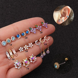 Fashion Personality Jewelry Colored Zircon Earrings Ear Cartilage Nails Lip Piercing For Women Feature Namour Charm Gift