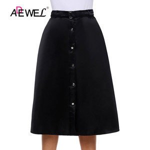 Image 4 - ADEWEL Lady Elegant Retro Style Buttons Front Flared Midi Skirt Black Skirts Womens Buttons Hot A Line Cute Skirts