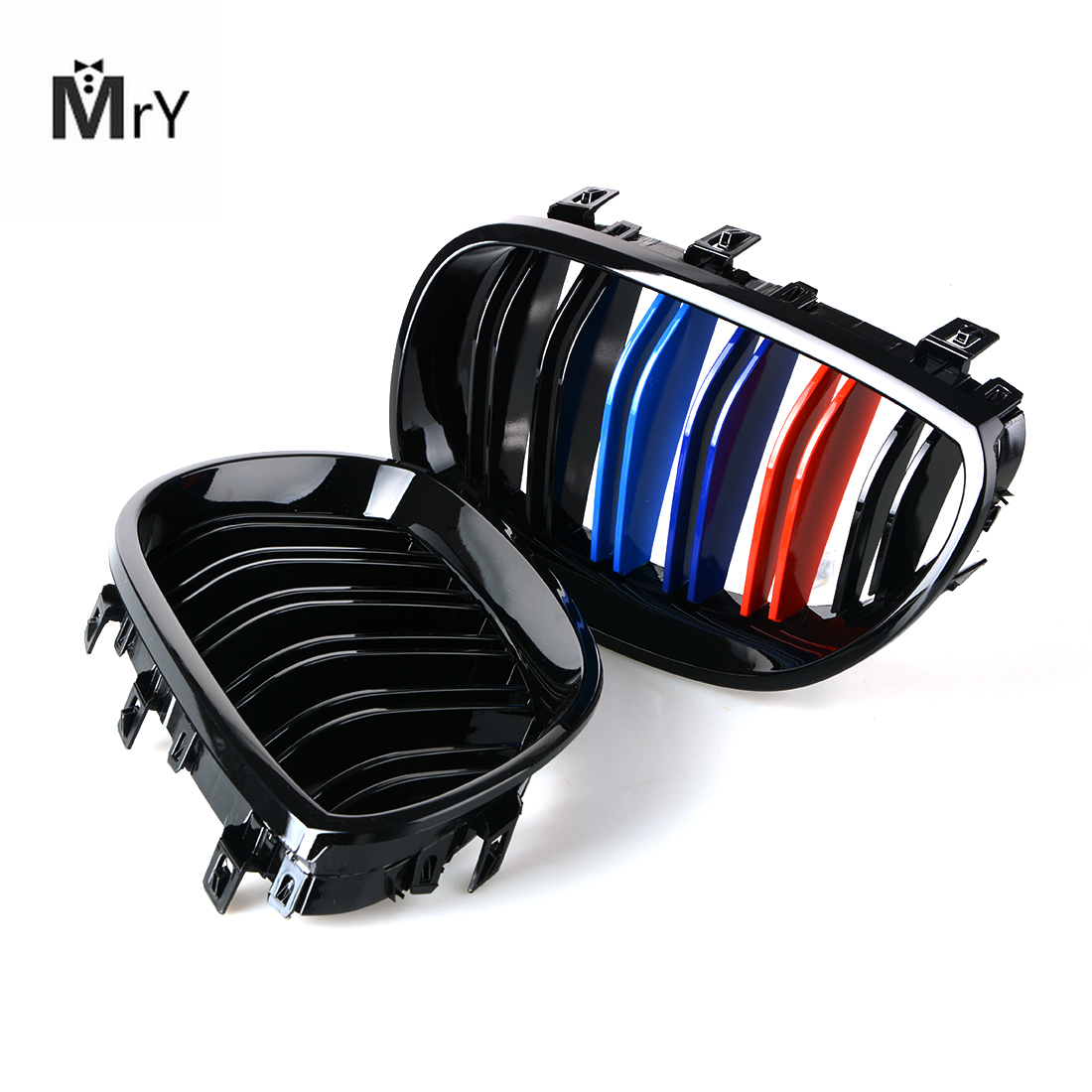 1 Pair Gloss 3 Color Carbon Fiber Black M5 Style Auto Car Styling Racing Grill Racing Grille For BMW 5 Series E60 E61 2003-2009