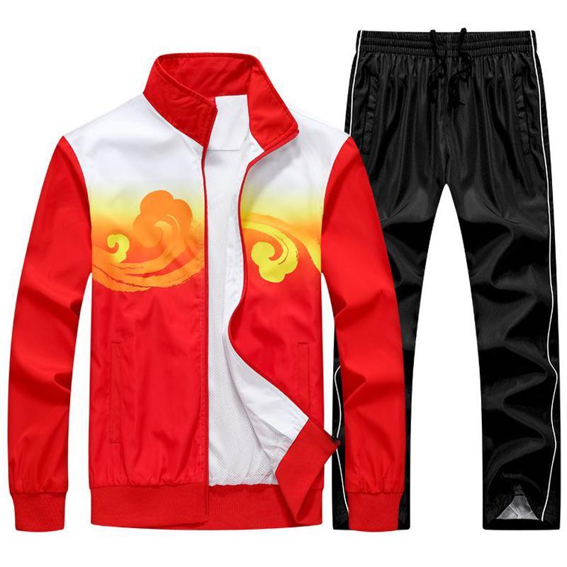 Tracksuits Men 2 PCS Jacket+pant Track Suit Man Spring Autumn Basketball Training Set Men`s Sportwear Running Sport Suit M~5XL