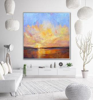 Large Sunset Landscape Painting Sky Abstract Painting On Canvas Gold Painting Orange Painting Sea Wall Art Office Decor