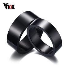 Vnox-anillo de acero inoxidable negro, joyería para su mejor amiga