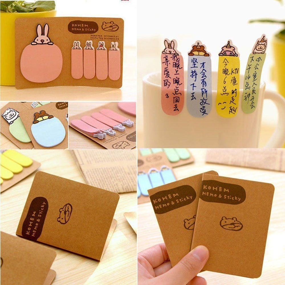 1 x New Cute Kawaii Animal Sticker Post It Bookmark Point Marker Memo Flag Sticky Notes Random Styles image