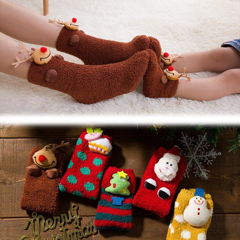 Christmas Socks Mommy And Me Lovely Adult Men Women Baby Kids Xmas Winter Warm Fleece Ankle Socks