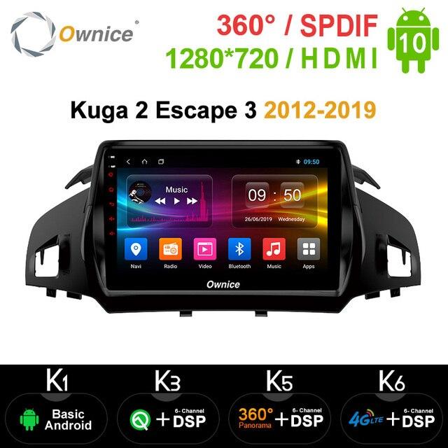Ownice Android 10.0 2 Din 8 Xe DSP 4G LTE Đài Phát Thanh Nhạc GPS Navi DVD K3 K5 K6 dành Cho Xe Ford Kuga 2 Thoát 3 2012 2019 SPDIF Âm Thanh