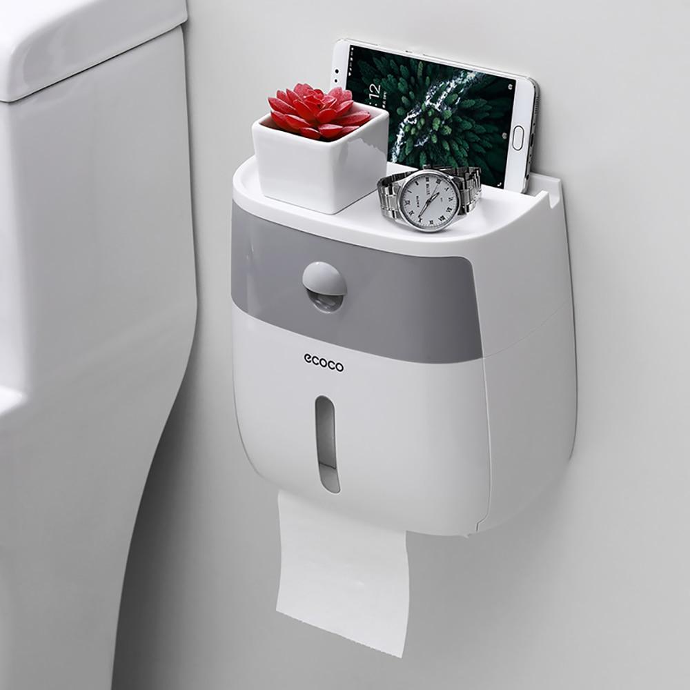 Ecoco שכבה כפולה רקמות תיבת אחסון עמיד למים קיר רכוב נייר טואלט מיכל מחזיק עבור סלון חדר אמבטיה מטבח #3