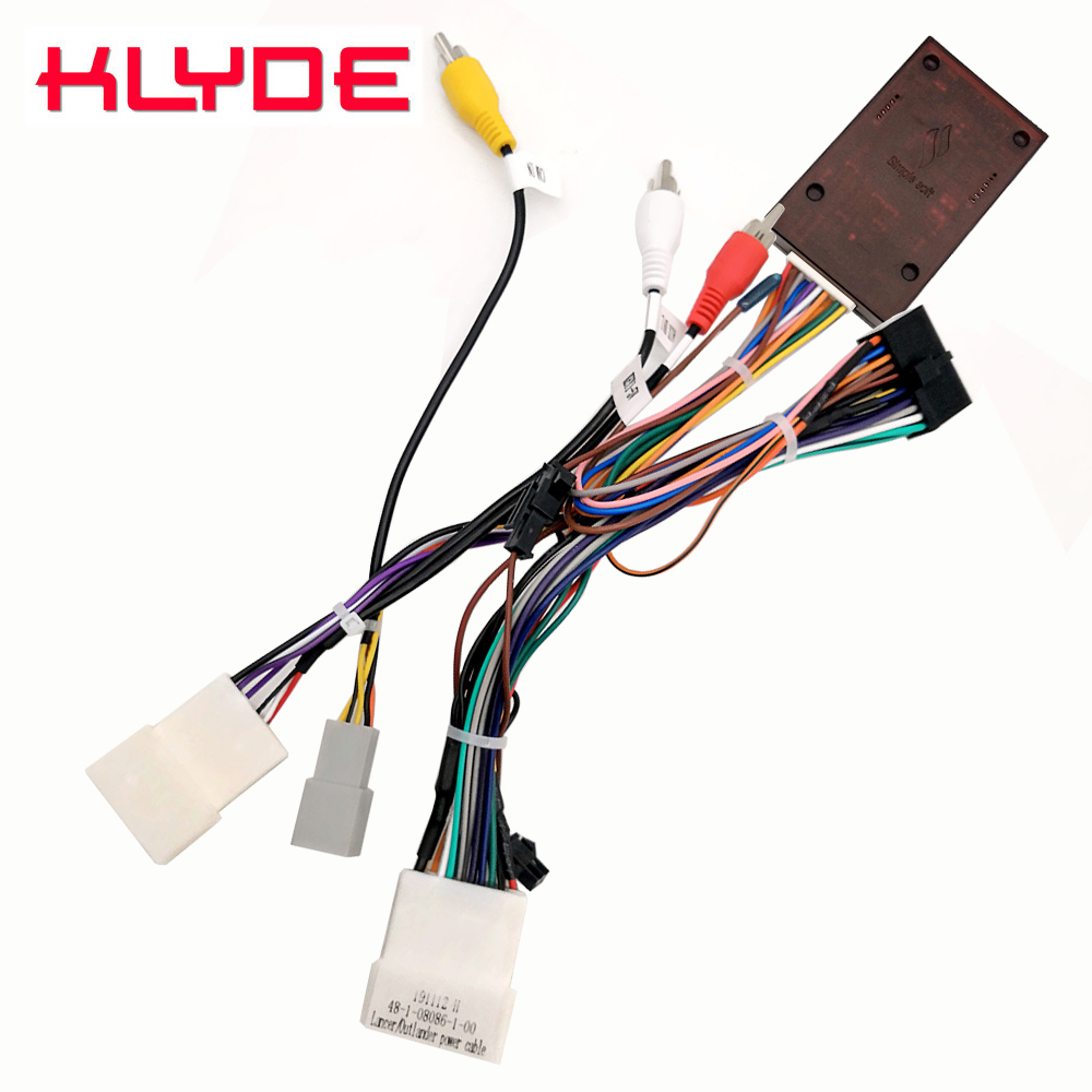 KLYDE Car Stereo Radio Wire Power Harness Adapter With Canbus Decoder For Mitsubishi Outlander Lancer Pajero Car With Amplifier