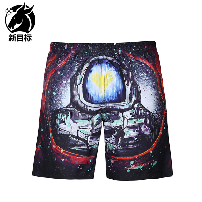 Foreign Trade Hot Selling 2019 Spring And Summer New Style MEN'S Middle Pants Digital Creative 3D Printed Beach Shorts Popular B